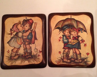 2 Vintage 11 x 9 1960s-1970s Hummel Like Wood Mounted Illustrations EXCELLENT CONDITION