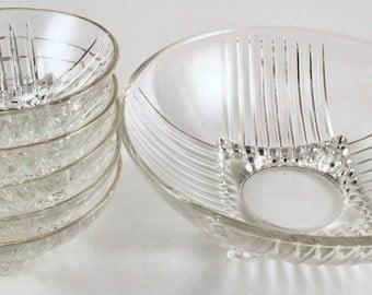 Glass Salad Bowl Set, Gold Trim, Vintage Art Deco Style, 6 Piece Fruit Salad Set, 1930s Footed Bowl, Gift for Bride, 1930s Kitchen Decor
