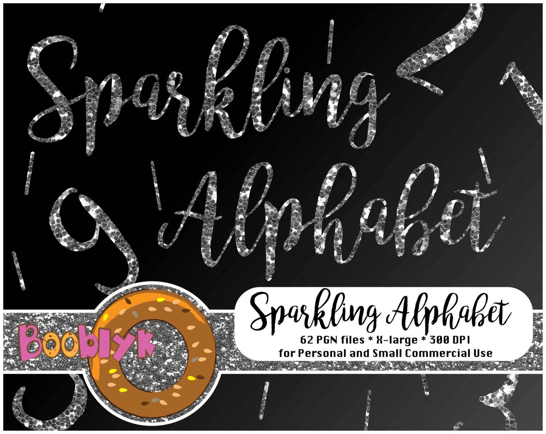 digital scrapbooking clipart silver glitter alphabet