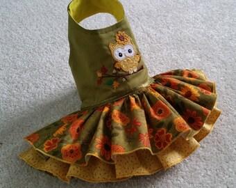 Small Dog clothing, Thanksgiving Dog Dress, Harness Dog Dress, Fall dog dress, Chihuahua Owl Coat  XS, S