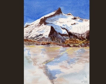 Download -Snow Lake --Pyrenees-France-Landscape Watercolor Painting