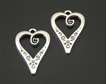 30pcs Antique Silver Heart Charms Pendant A2174