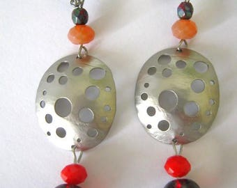 Handmade dangle Oval colander silver pendant earrings,Czech glass bead earring,stainless steel earhooks,drop woman earring,party earring,220