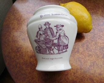 Ye Olde London Cries Pottery Vase.  Stoneware.  England.  Posy vase. Lavender Transfer ware.