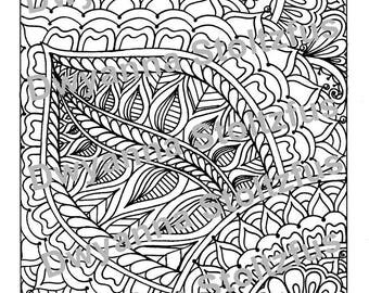 Henna Leaf Coloring Page JPG