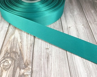 "Solid Jade Grosgrain - 7/8"" Grosgrain ribbon - 5 yards - craft ribbon - DIY hair bow - DIY headband - Wedding ribbon - Jade wedding"