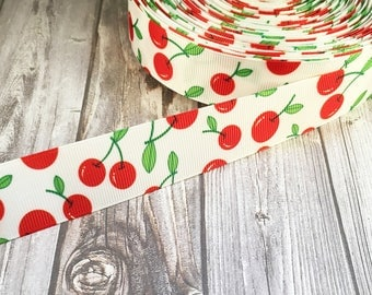 "Cherry ribbon - 1"" grosgrain ribbon - Vintage look ribbon - Pin up ribbon - Summer ribbon - Fruit ribbon - DIY hair bows - DIY headbands"