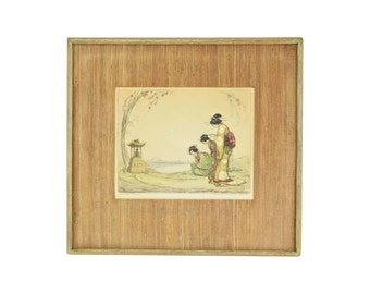 """1920's Hand Colored Etching """"The Little Shrine"""" 3 Geishas Praying"""