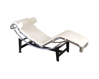 Modernist Le Corbusier LC4 Style Chaise Lounge Tubular Steel Chrome White Leather