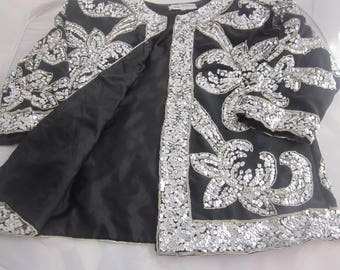 MOTHER of the BRIDE or Eveningwear COAT Black and Silver Sequined Silk Elegance All Season Top