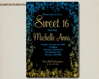 Sweet 16 Invitation, Sweet Sixteen Birthday Invitation, Sweet 16 Invite, Sweet Sixteen Invite, Bokeh invitation, Blue Invitation, Gold