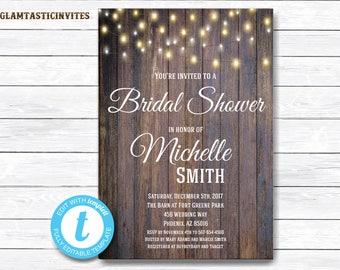 Rustic Bridal Shower Invitation, Rustic Invitation, Mason Jar invitation, Flower Invitation, Bridal Shower Invitation, Wood Invitation