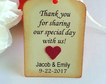 """Thank you wedding tags, Wedding tags, Thank you tags, Wedding favor tags, Thank you gift tags, Please see """"Item Details"""" below for more info"""
