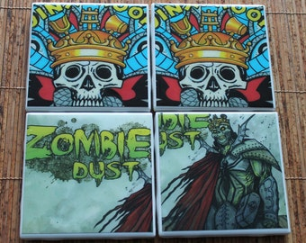 3Floyds Brewing Zombie Dust Jinx Proof Ceramic Craft Beer Coasters from Upcycled 6 pack holders. Beer Coasters. Beer Gifts. Craft Beer.