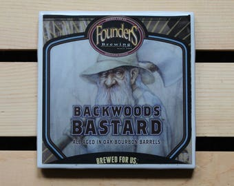 Founders Brewing Backwoods Bastard Ceramic Craft Beer Coaster from Recycled 6 pack Holders. Beer Coasters. Drink Coasters. Beer Gifts.