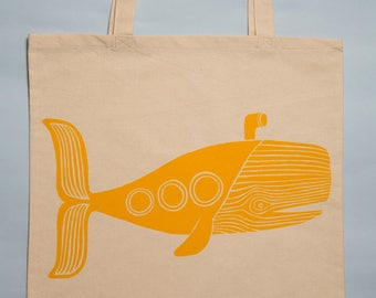 Large Yellow Submarine Whale Screen Printed Tote Bag