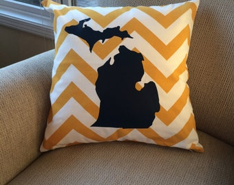 Michigan pillow cover- Michigan pillow- yellow chevron pillow- pillow cover- chevron pillow- Michigan