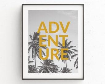 Digital Download Art, Prints Wall Art, Coastal Wall Art, Printable Poster, Tropical Leaf Print, Quote Prints, Palm Leaf Print, Gold Decor