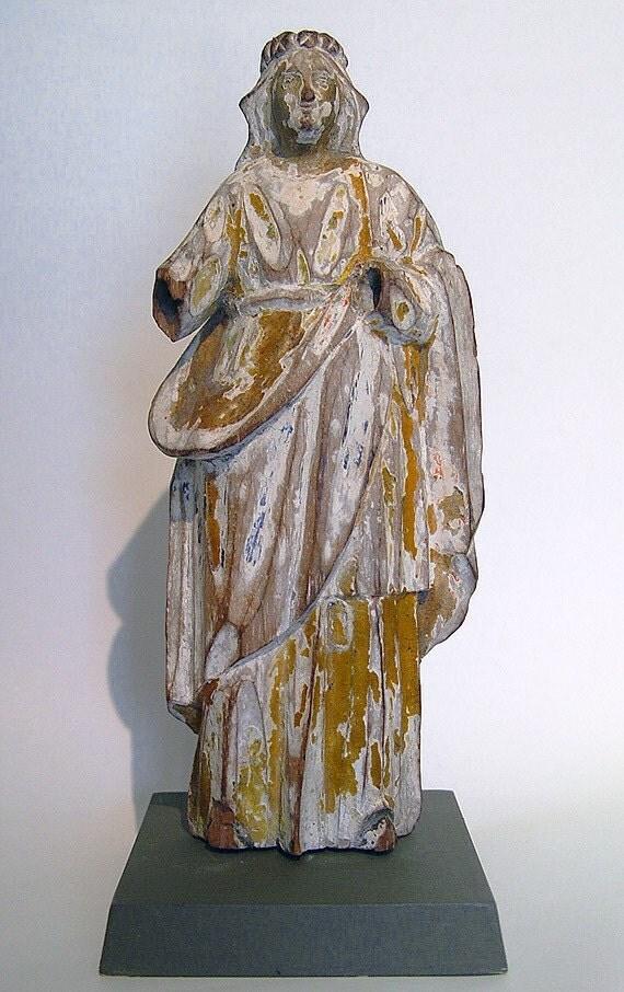 Vintage Wooden Santos Figure Female Saint Santo St. Rosalia or St. Agatha?