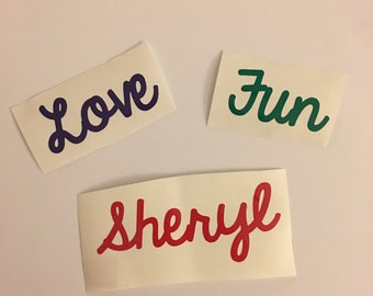 Solid Color Name/Word Vinyl Decal