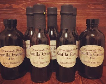 Homemade Vanilla Extract, Pure and Natural with NO additives! *Madagascar Bourbon & Tahitian Beans* Smooth Delicious Flavor!