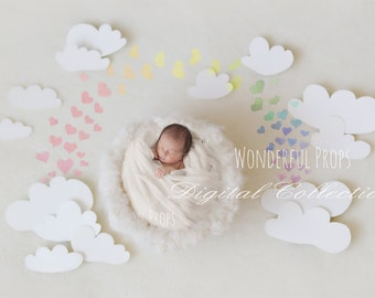 Digital Newborn Photography Prop Backdrop - Clouds Nest & Rainbow - SET of 6 Pictures as shown w. and without rainbow, Rainbow Baby