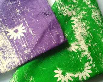 Cotton fabric green violet indian block printed in organic herbal dyes summer dress cloth boho dress material flower print sewing fabric