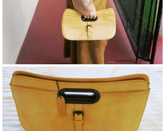 Yellow Leather Handbag with Cutout Handle