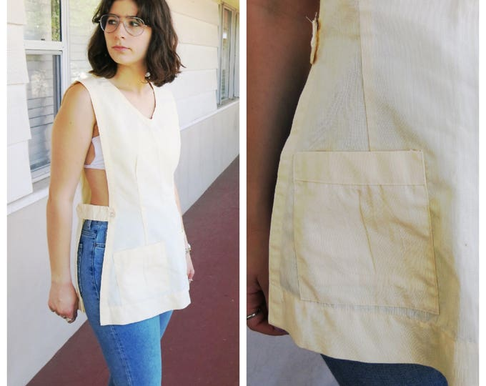 Yellow Apron Top 70's Shop Girl Grocery Store Open Sides Vintage Medium Large One Size