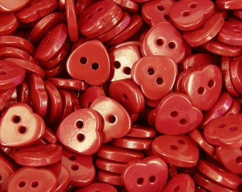 10 x Heart Buttons Red 2 holes  Card Craft Sewing Valentine Knitting B110