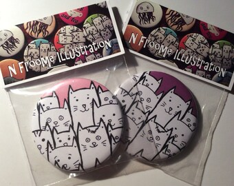 58mm gift packaged pocket mirror with cute cat illustration in pink or purple