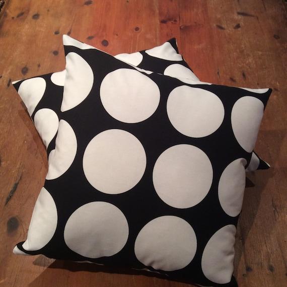 Retro Black and White Large Polka Dot Reversible Quality Cotton Cushion Covers