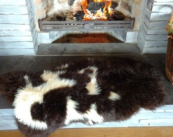 Real Jacob Sheepskin rug - pelt - 100% natural-white & brown-shaggy-hide-throw-SUPER SOFT-soft tanned - ready for shipping - Made In Ireland