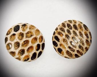 vintage faux snakeskin button style earrings brown and tan snakeskin large retro earrimgs