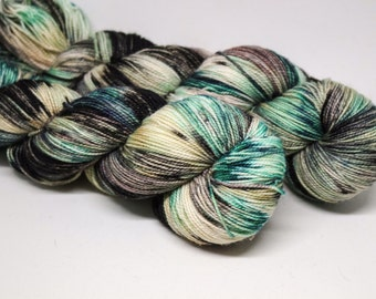 Soup of the Day is Gin - Ballpoint Sock fingering weight 80/20 superwash merino nylon hand dyed speckled variegated yarn - 400 yards