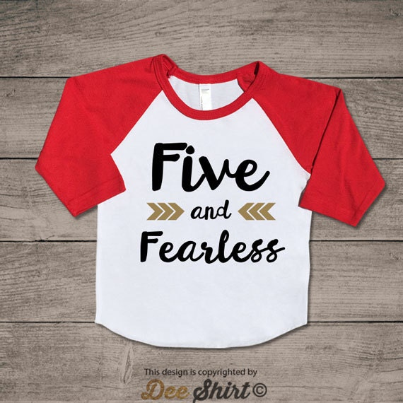 Fifth birthday t-shirt; 5th birthday shirt; five & fearless kids b-day tee; 5 year old toddler outfit; cute xmas gift for birthday boy girl