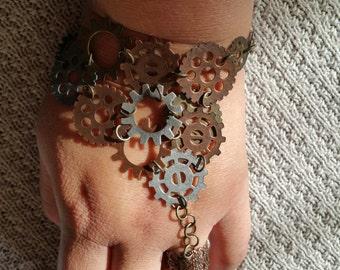 Very Unique Steampunk Bracelet Ring.