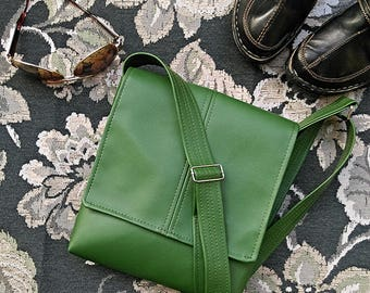 Kale green faux leather vegan flap messenger satchel cross body crossbody shoulder  handbag bag