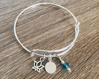 Lotus flower initial hand stamped bangle charm bracelet / yoga jewelry /  zen gift / initial bracelet / flower / gift for friend / Lotus