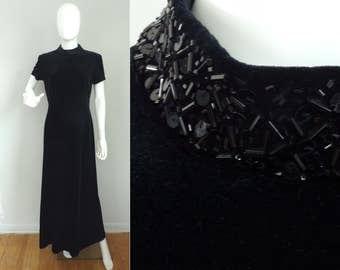 Vintage 1980s Black Velvet Dress Size Medium, Floor Length Dress, Black Dress, Velvet Dress, Sequins, Short Sleeve Dress, Evening Dress