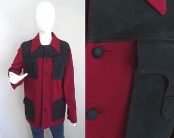Vintage 70s red black sheep suede & wool knit jacket large, suede coat, wool jacket, preppy jacket, button front , red black suede, large
