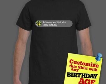 Achievement Unlocked: Custom Birthday Shirt | Customized Birthday T-shirt | Geeky Gamer Geek Birthday Shirt | Insert Your Age