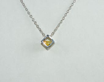 Cube Necklace Made with Swiss Crystals FREE SHIPPING!