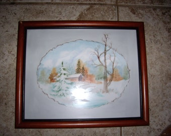 Handpainted Porcelain Tile of Covered Bridge bu Shirley Bruner
