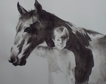 Large horse painting ORIGINAL HAND PAINTED artwork. Please ask if you would like a painting of your own horse.