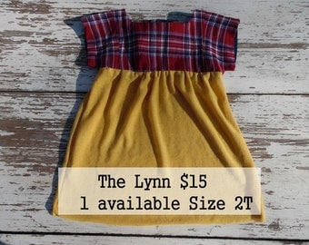 Upcycled Toddler Girls Tunic or dress red plaid and mustard short sleeves size 2T