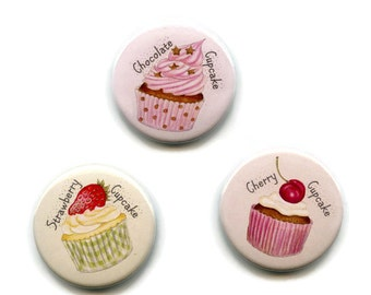 Cupcake Magnets Set of 3 Cake Magnets, 38mm Round Button Baking Cooks Fridge Magnets
