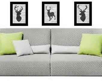 3 x Silouette Stags Heads Upcycled Prints Unique Vintage Dictionary Encyclopedia Rare Art Item Recycled