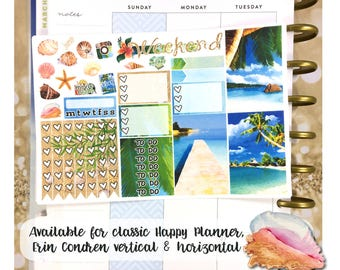 Island Life tropical beach sampler stickers - for Happy Planner, Erin Condren Vertical and Horizontal Planners - vacation summer watercolor