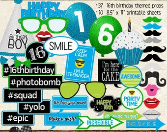 Photo Booth Props, HAPPY 16TH BIRTHDAY, boy, printable sheets, instant download, cyan, lime, party